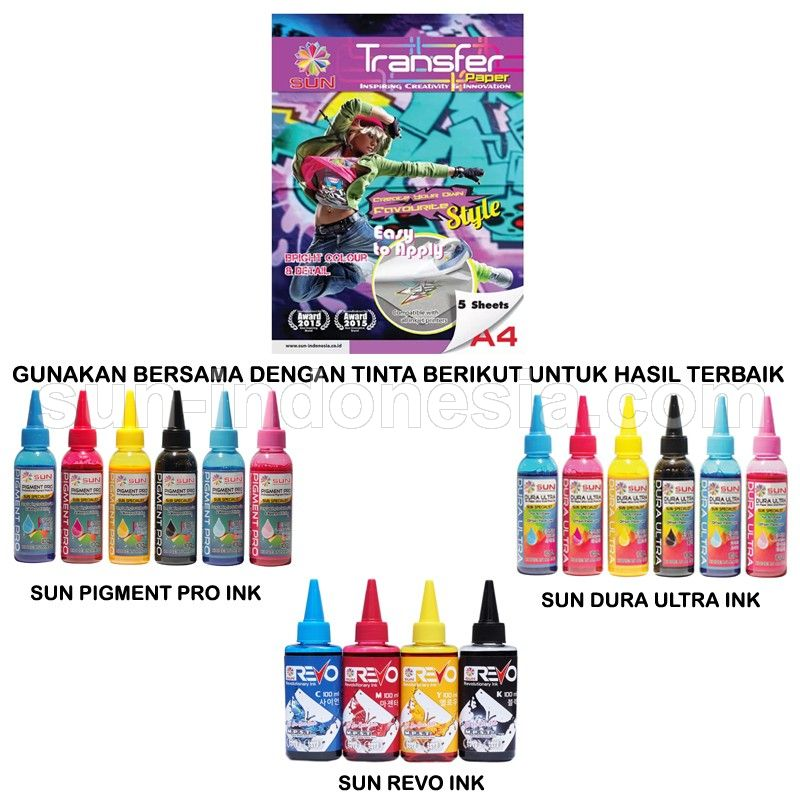 SUN NEXT GENERATION TRANSFER PAPER DARK AND LIGHT A4 - 2 PACK (FREE ONGKIR)